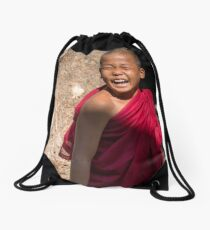 Laughing young monk in Myanmar Drawstring Bag