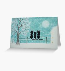 Cats in Snow: Christmas Cats with Tree Moon and Snow Greeting Card