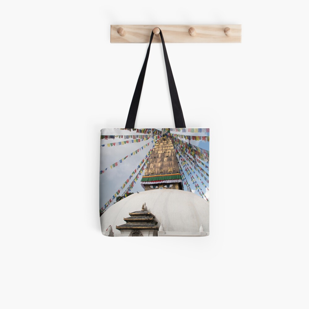 Stupa and Prayer flags Tote Bag
