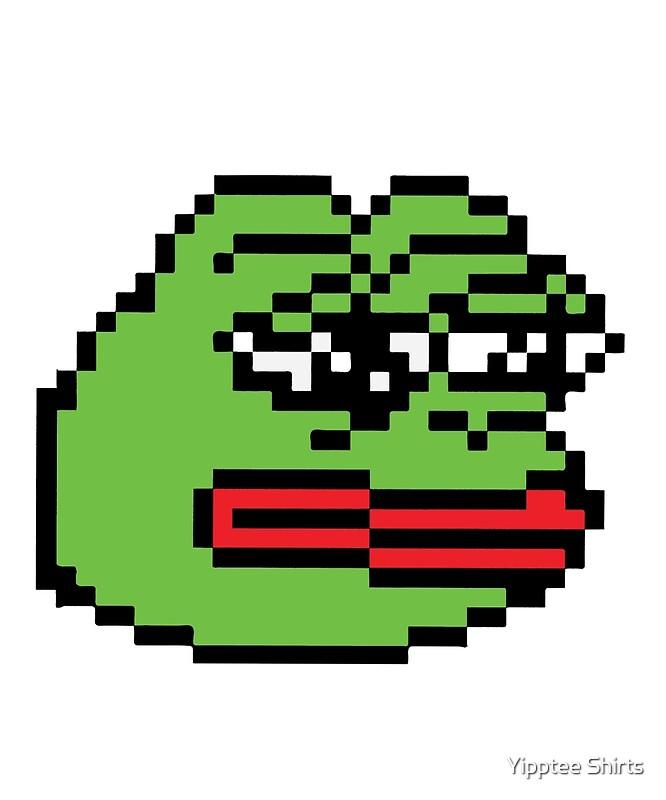 """""""Pixelated Pepe Sad Frog Meme (Rare, Dank)"""" Metal Prints ..."""