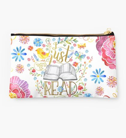 I Just Want To Read - White Floral Studio Pouch