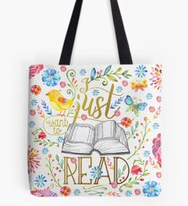 I Just Want To Read - White Floral Tote Bag