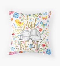 Ich möchte nur lesen - White Floral Kissen