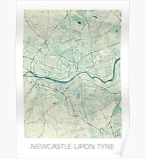 Newcastle upon Tyne Blue Vintage Poster