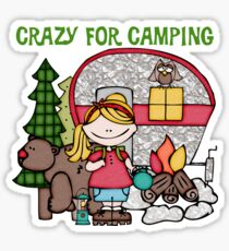 Blond Girl Crazy For Camping Vacations Sticker