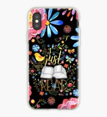 I Just Want To Read - Black Floral iPhone Case