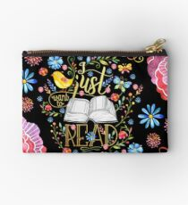 I Just Want To Read - Black Floral Studio Pouch