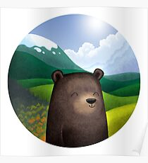 Cute bear in the wilderness Poster