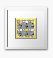 Tulips Pattern in Yellow, White, and Grey Framed Print