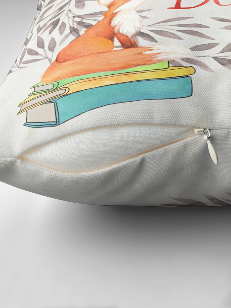 Alternate view of Read More Books - Fox Throw Pillow