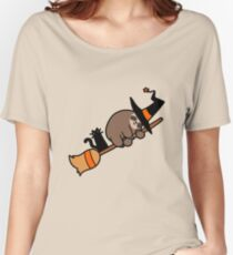 Witch Sloth on Broomstick Women's Relaxed Fit T-Shirt