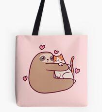 Sloth Loves Cat Tote Bag