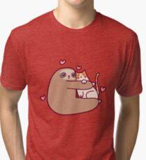 Sloth Loves Cat Tri-blend T-Shirt