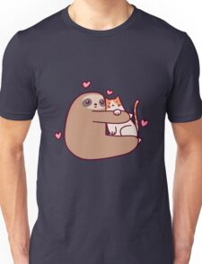 Sloth Loves Cat Unisex T-Shirt