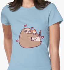 Sloth Loves Cat Womens Fitted T-Shirt