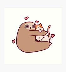 Sloth Loves Cat Art Print