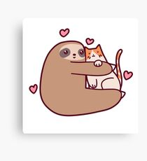 Sloth Loves Cat Canvas Print