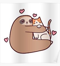 Sloth Loves Cat Poster