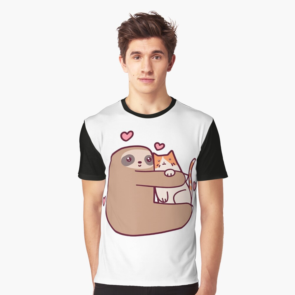 Sloth Loves Cat Graphic T-Shirt