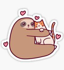 Sloth Loves Cat Sticker