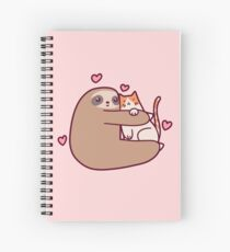 Sloth Loves Cat Spiral Notebook