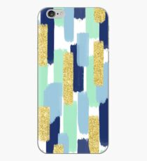 Navy and Gold Glitter   Brush Strokes iPhone Case