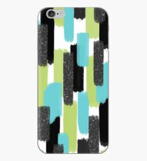 Turquoise and Black Glitter   Brush Strokes iPhone Case