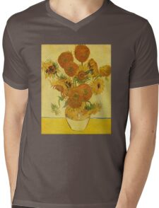'Still Life with Sunflowers' by Vincent Van Gogh (Reproduction) Mens V-Neck T-Shirt