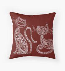 Wine Mandala Cats Throw Pillow