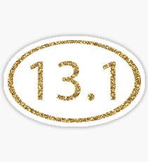 13.1 Half Marathon Run Sparkly Gold Sticker