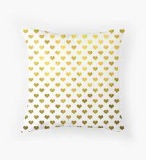 Gold Metallic Faux Foil Hearts Polka Dot Pattern Hearts Throw Pillow