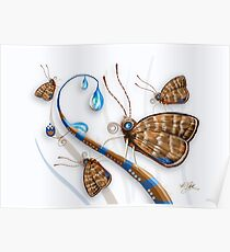 Butterflies and Raindrops Poster
