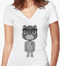 Kanyewest B&W heartbreak bear  Women's Fitted V-Neck T-Shirt