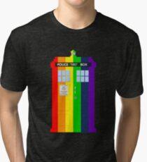 Rainbow Tardis Tri-blend T-Shirt