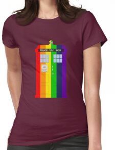 Rainbow Tardis Womens Fitted T-Shirt