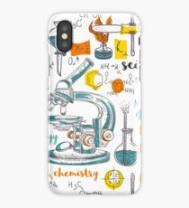 Vintage seamless pattern old chemistry laboratory with microscope, tubes and formulas iPhone Case/Skin