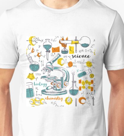 Vintage seamless pattern old chemistry laboratory with microscope, tubes and formulas Unisex T-Shirt