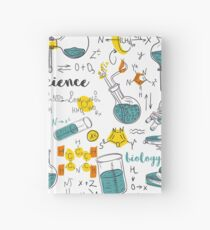 Vintage seamless pattern old chemistry laboratory with microscope, tubes and formulas Hardcover Journal