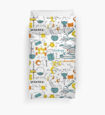 Vintage seamless pattern old chemistry laboratory with microscope, tubes and formulas Duvet Cover