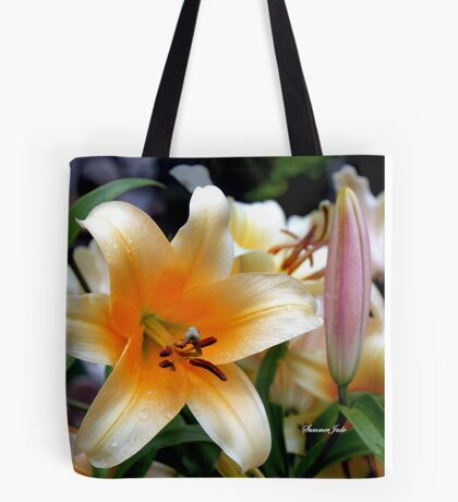 Tequila Sunrise Lily with Raindrops Tote Bag