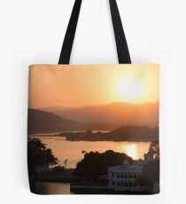 Sunset over the Lake Pichola. Udaipur Tote Bag