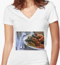 Healthy lunch with beans, vegetables, pasta. Women's Fitted V-Neck T-Shirt