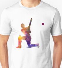 Cricket player batsman silhouette 08 Unisex T-Shirt