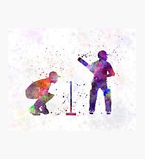 Cricket player silhouette Photographic Print