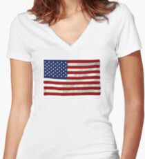 USA flag, block colour design (United States of America) Women's Fitted V-Neck T-Shirt