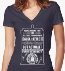 Doctor Who - Blink - People assume that time is a strict progression of cause to effect Women's Fitted V-Neck T-Shirt