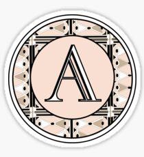 1920s Pink Champagne Deco Monogram letter A Sticker