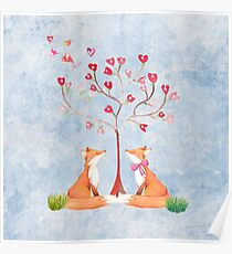 Foxes under a love tree Poster