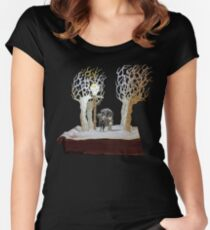 Tumnus and Lucy Narnia book sculpture Women's Fitted Scoop T-Shirt