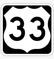 US Route 33 Sign, USA Sticker